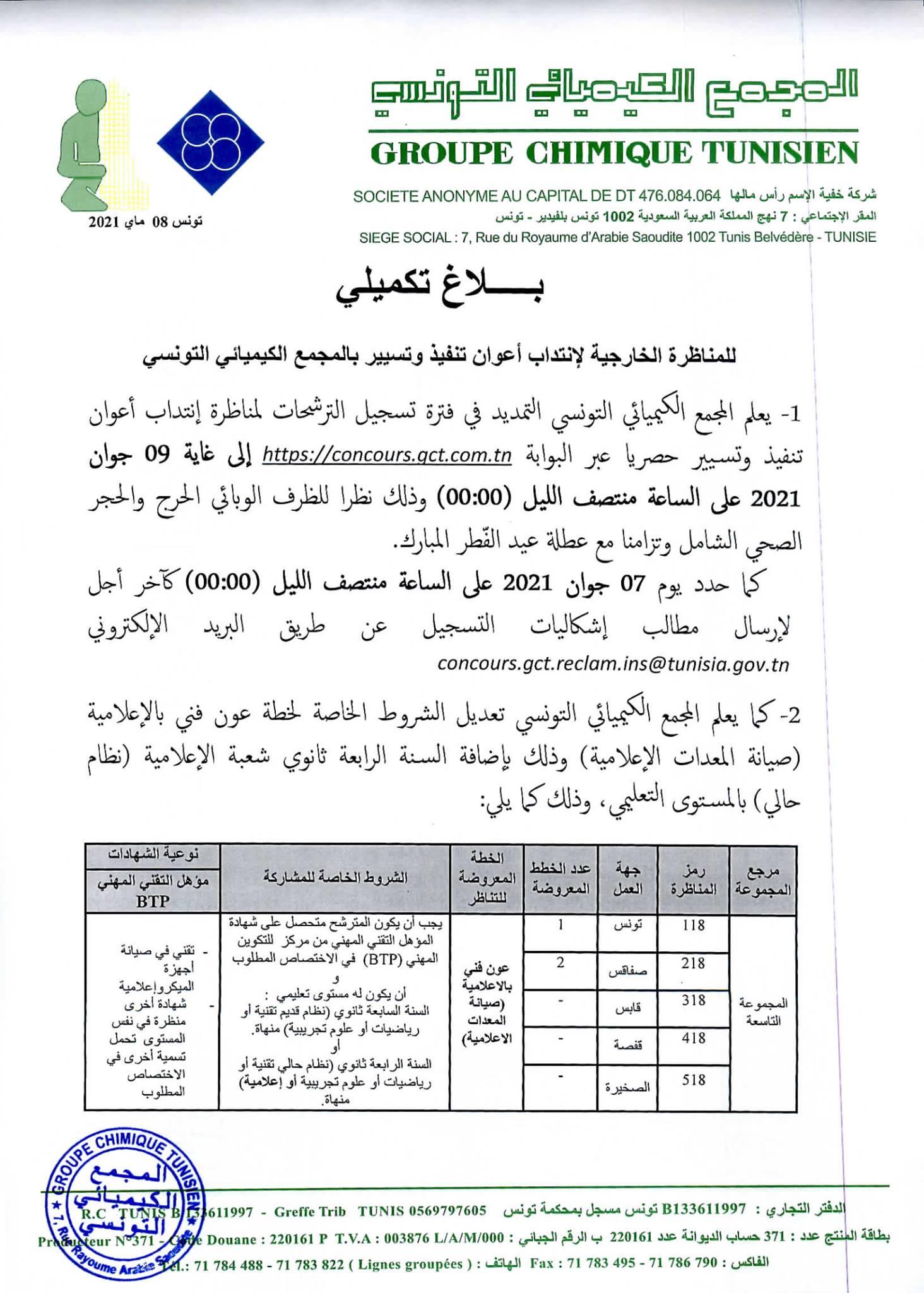 مناظرات انتداب 1602 أعوان تسيير وتنفيذ بالمجمع الكيميائي التونسي : أخر أجل للتسجيل 09 جوان 2021